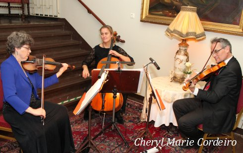 20 String trio, Nils, Charlotte and Ingrid, pre-dinner mingle.