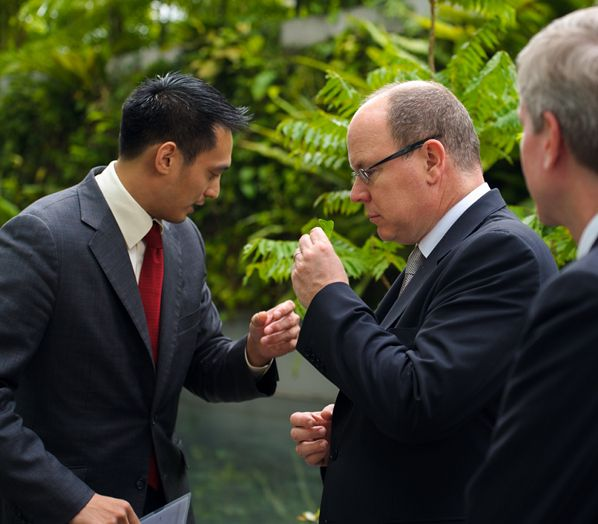 Kevin Teng and Albert II, Prince of Monaco, Marina Bay Sands, Singapore.