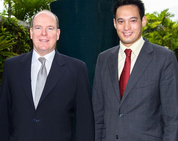 Prince Albert II, Prince of Monaco and Kevin Teng, Marina Bay Sands, Singapore. f Monaco at Herb Garden 3a 598