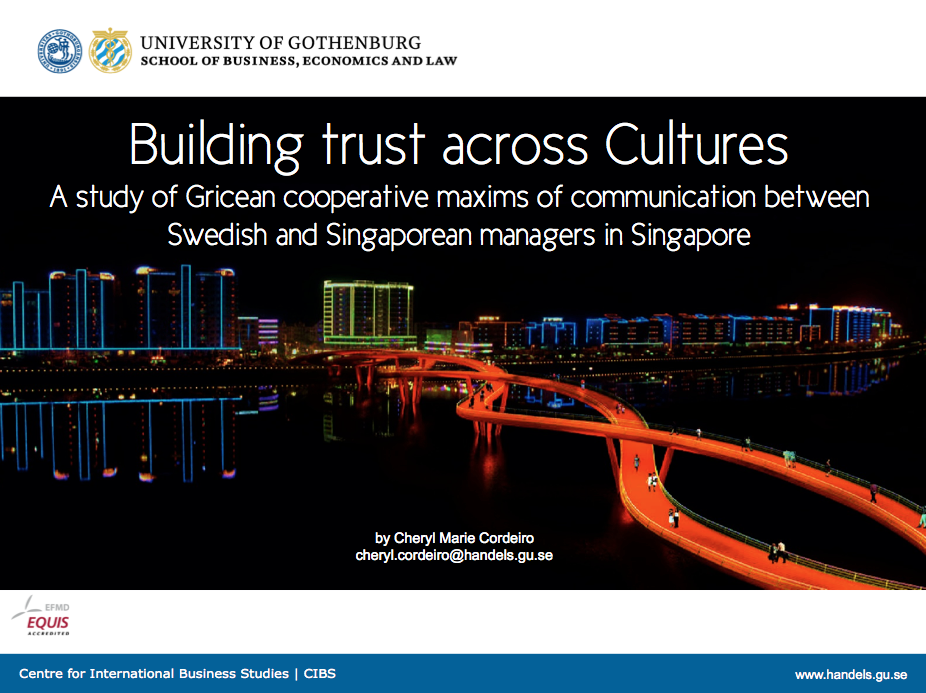 Cheryl Marie Cordeiro, FINT,  21-23 November 2013, Singapore.